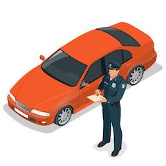Policeman writing traffic ticket beside car